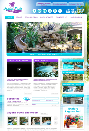Laguna Pools website: website design, video production services, and social media branding  Small Screen Producer