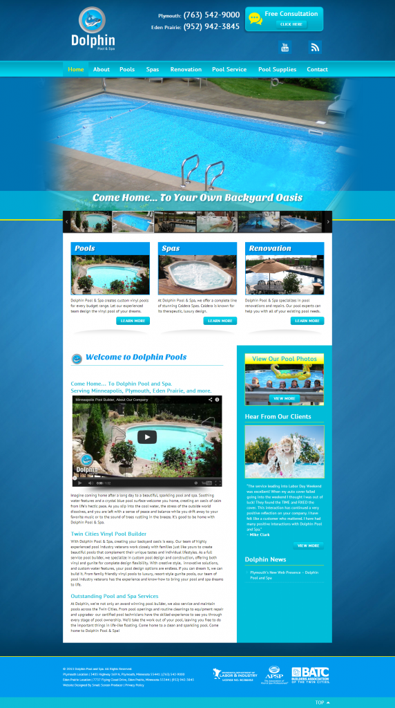 Dolphin Pool and Spa | Small Screen Producer